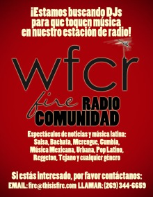 A poster to recruit Spanish-speaking DJs for WFCR.