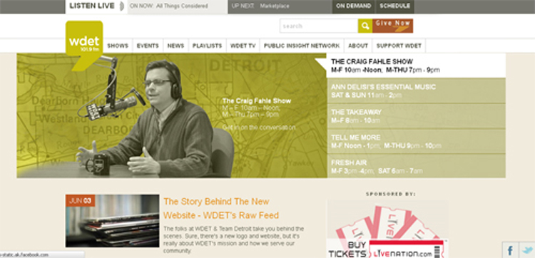 WDET's home page.